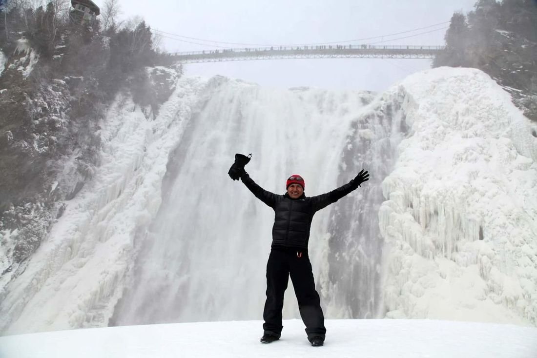 Winter Snow Waterfall Frozen Waterfall Bridge Montmorency Falls Quebec Canada Nature Nature_collection Frozen Nature