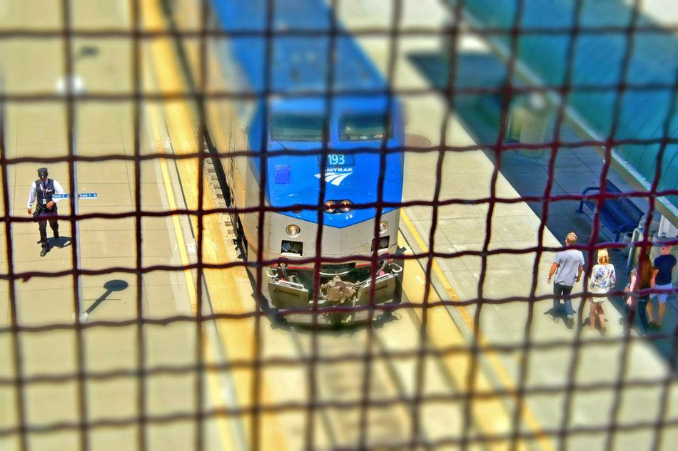 Train Station Catwalk 7 Jack London Square Port Of Oakland, Ca. Union Pacific Railroad Overpass Overpass View Tracks Amtrak Train Train Platform Train Conductor Passengers Distortion Miniaturized Train Train Engine Railroad Photography Railroad _collection Railroad Train Lovers