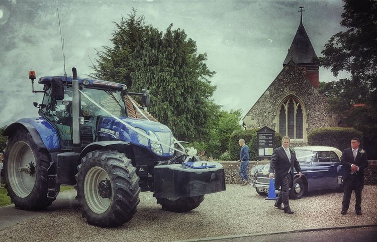 The brides carriage awaits... a modern wedding Wedding Wedding Day Wedding Party Marriage  Church Church Wedding Tractor Tractorporn Essex EssexCounty Check This Out Country Life Marriedlife Suit Guests Bulphan