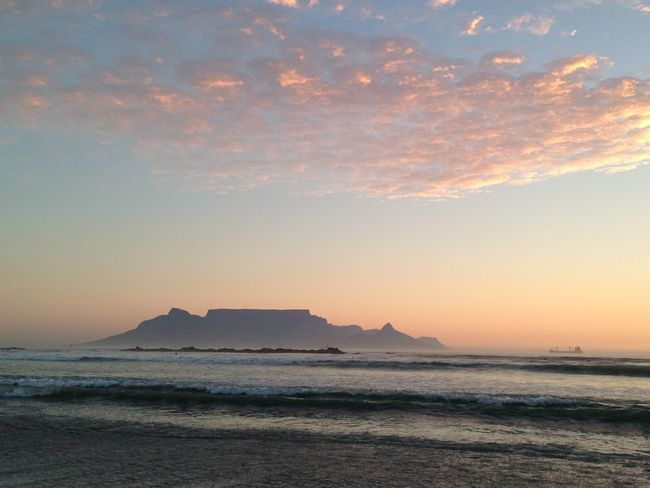 Beach Beauty In Nature Blouberg Strand Cape Town Cloud Cloud - Sky Coastline Horizon Over Water Nature No People Non-urban Scene Orange Color Outdoors Scenics Sea Seascape Shore Sky Sunset Table Mountain Tranquil Scene Tranquility Travel Destinations Water Wave
