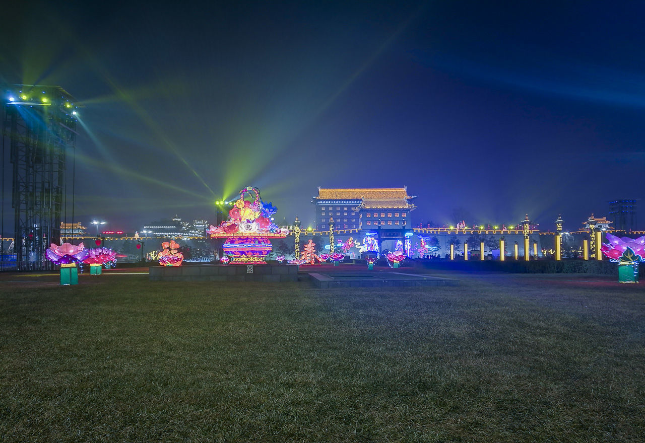 night, illuminated, outdoors, arts culture and entertainment, no people, multi colored, nature, architecture, sky, popular music concert