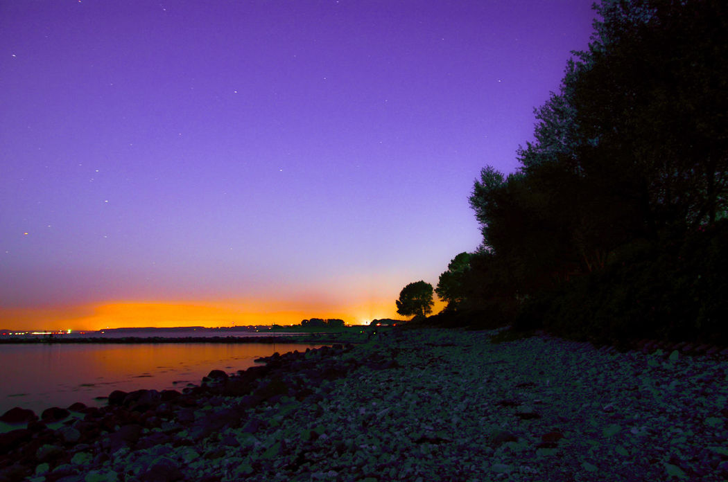 Beach At Night Scenics Nature Beauty In Sky Purple Tranquility Tranquil Scene Landscape