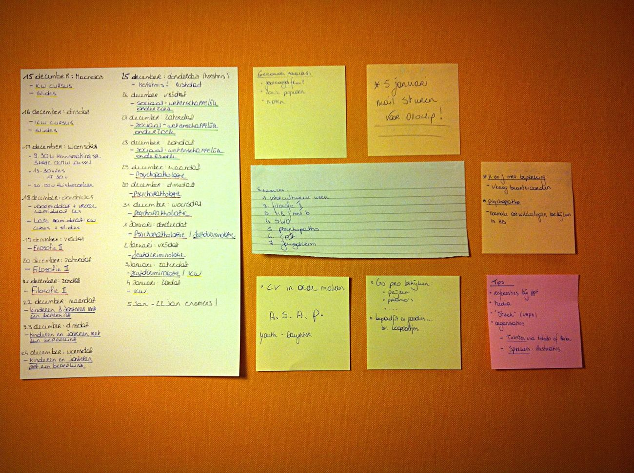 Wall planning School Finals Planning