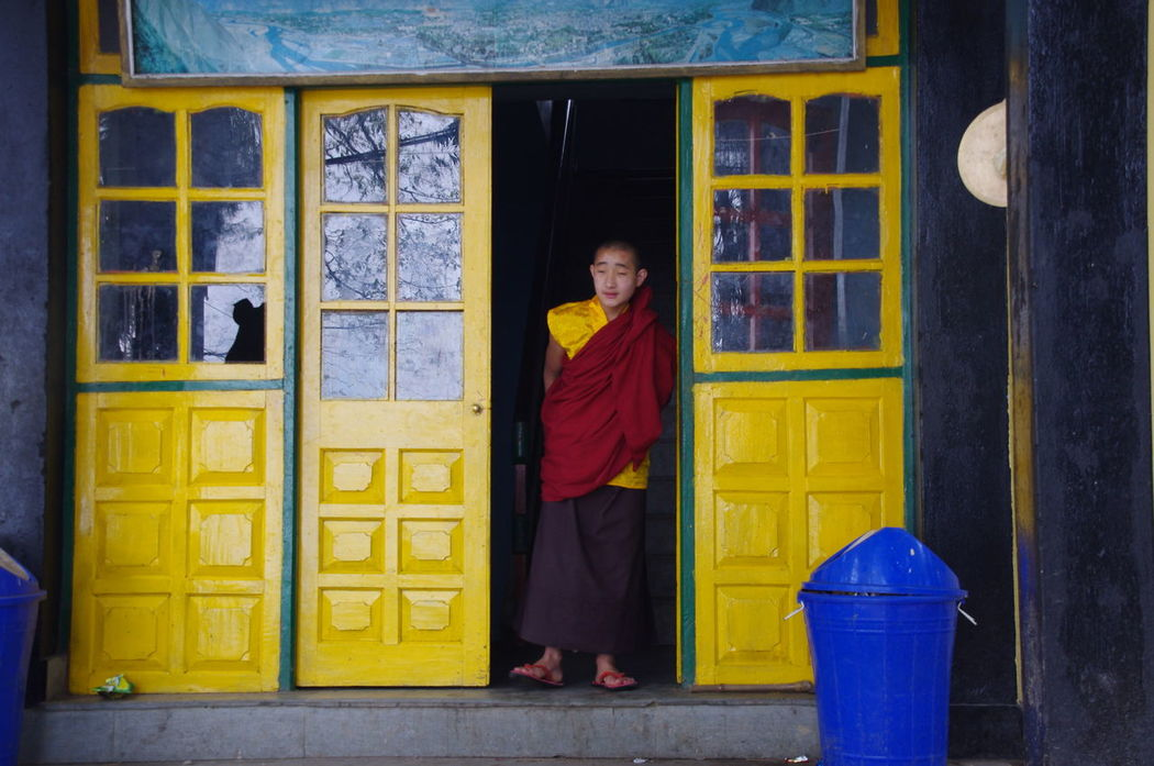 Colourful Flags In The Wind  Foggy Funky Windows Gangtok India Monestry Monk  Pink Turbanstyle
