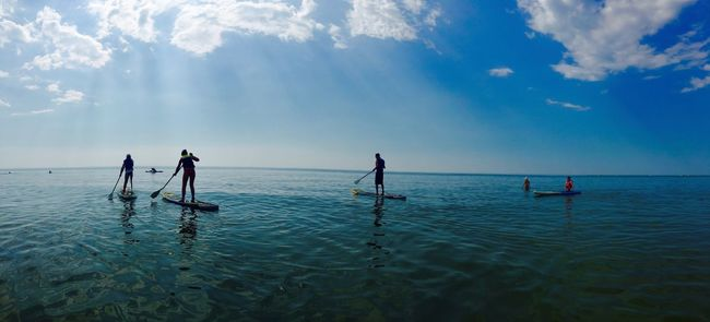 Sea Sky Water Real People Nature Horizon Over Water Beauty In Nature Cloud - Sky Lifestyles Beach Men Scenics Outdoors Sport Leisure Activity Skill  Day Vacations Paddleboarding Stand Up Paddling Sup