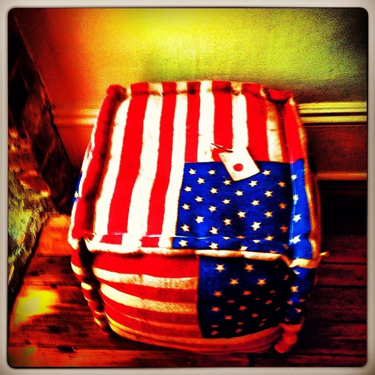 beautiful flag - heavy mterial like a burlap - perfect as ottoman or a stool/ table @dluxesavannah D.luxesavannah