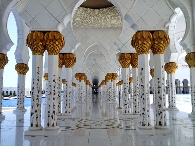 Abu Dhabi Amazing Architecture Arabic Arch Architectural Column Architecture Beauty Beauty In Ordinary Things Emirates Flowers Indoors  Mosque No People Travel Destinations White Grand Mosque Grand Mosque Abu Dhabi