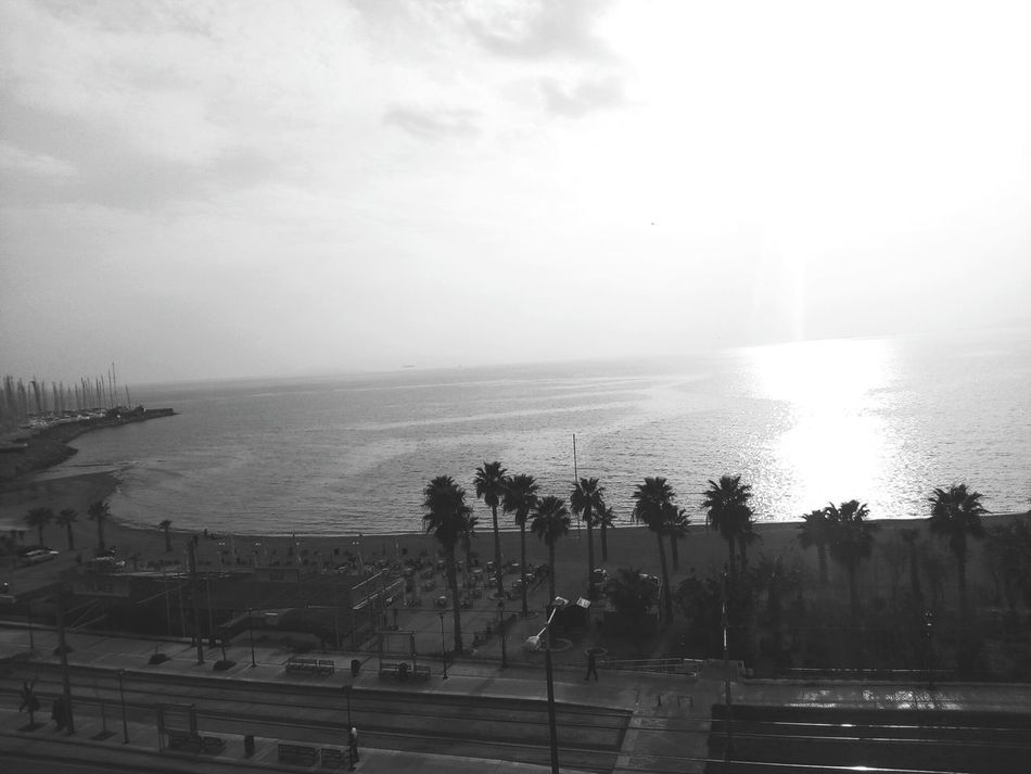 Water Sea Tree Day Horizon Over Water Beauty In Nature Beachphotography Athens, Greece Beach Seaandsky Balcony View Sea And Sky Bluesea Greeksea Boats⛵️ Blackandwhitephotography Blackandwhite