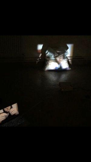 Recent art work Art Myartwork Indoors  Installation Trashbags 1000papercrane Papercranes Film Projection