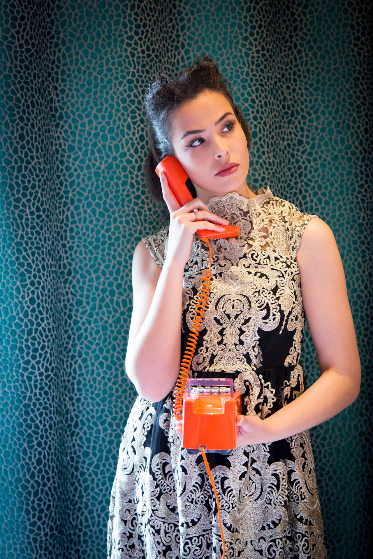 1950s Beautiful Woman Day Drink Drinking Glass Fashion Front View Hair Curlers Holding Home Interior Indoors  Lifestyles Like In The Movies Looking At Camera Old Photos With History One Person One Woman Only Phone Portrait Real People Standing Stylish Waist Up Wallpaper Young Women
