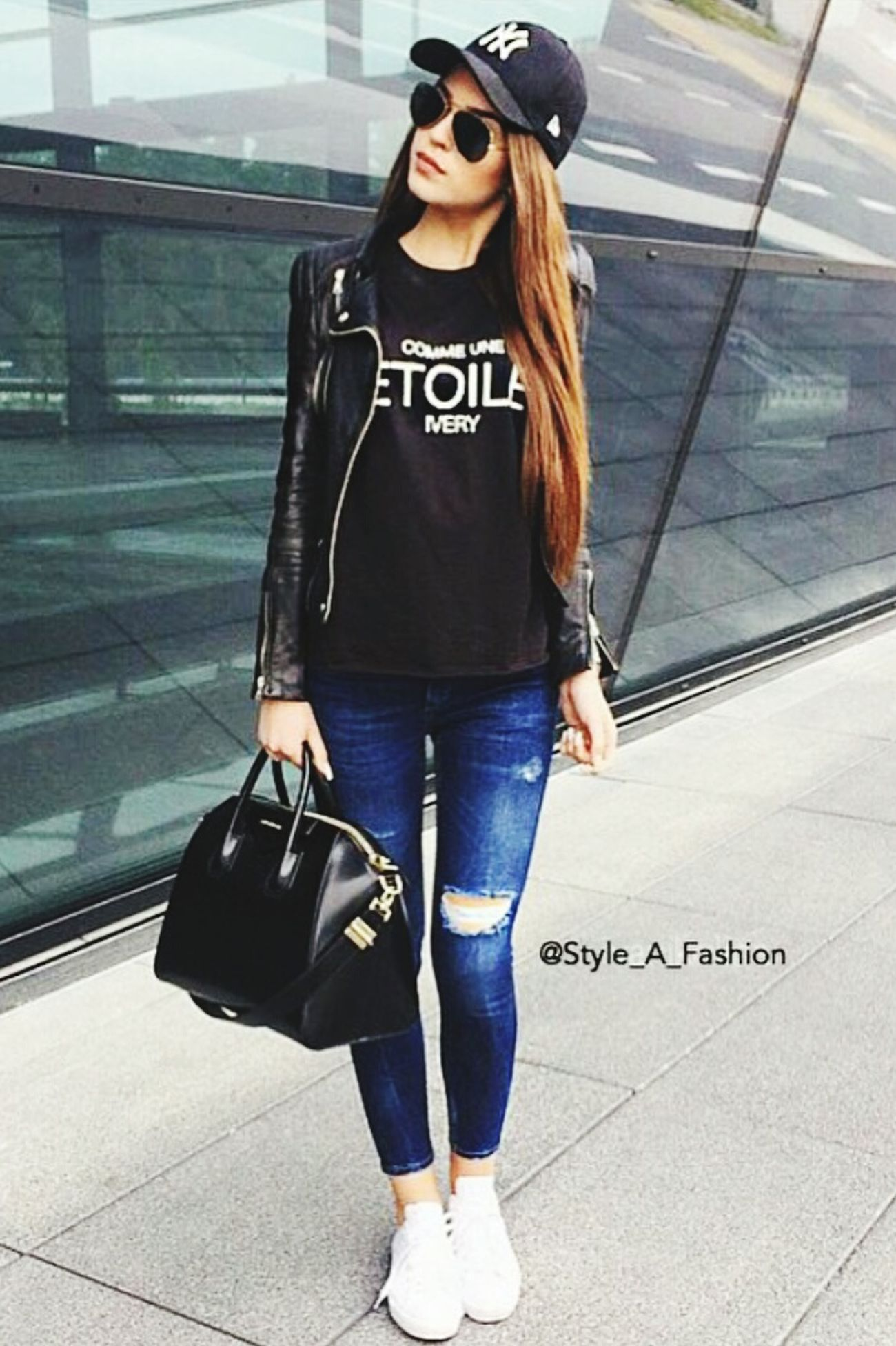 Sunclasses Longhair Cap Jeans Lederjacke Girl Beautiful Amazing Jealous
