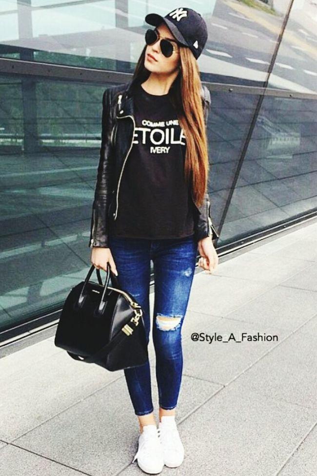 Sunclasses Longhair Cap Jeans Lederjacke Girl Beautiful Amazing Jealous