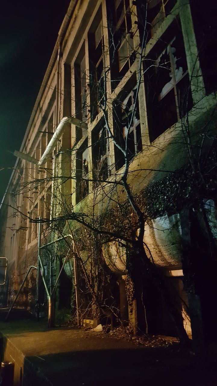 architecture, night, built structure, building exterior, no people, abandoned, low angle view, outdoors, tree, sky