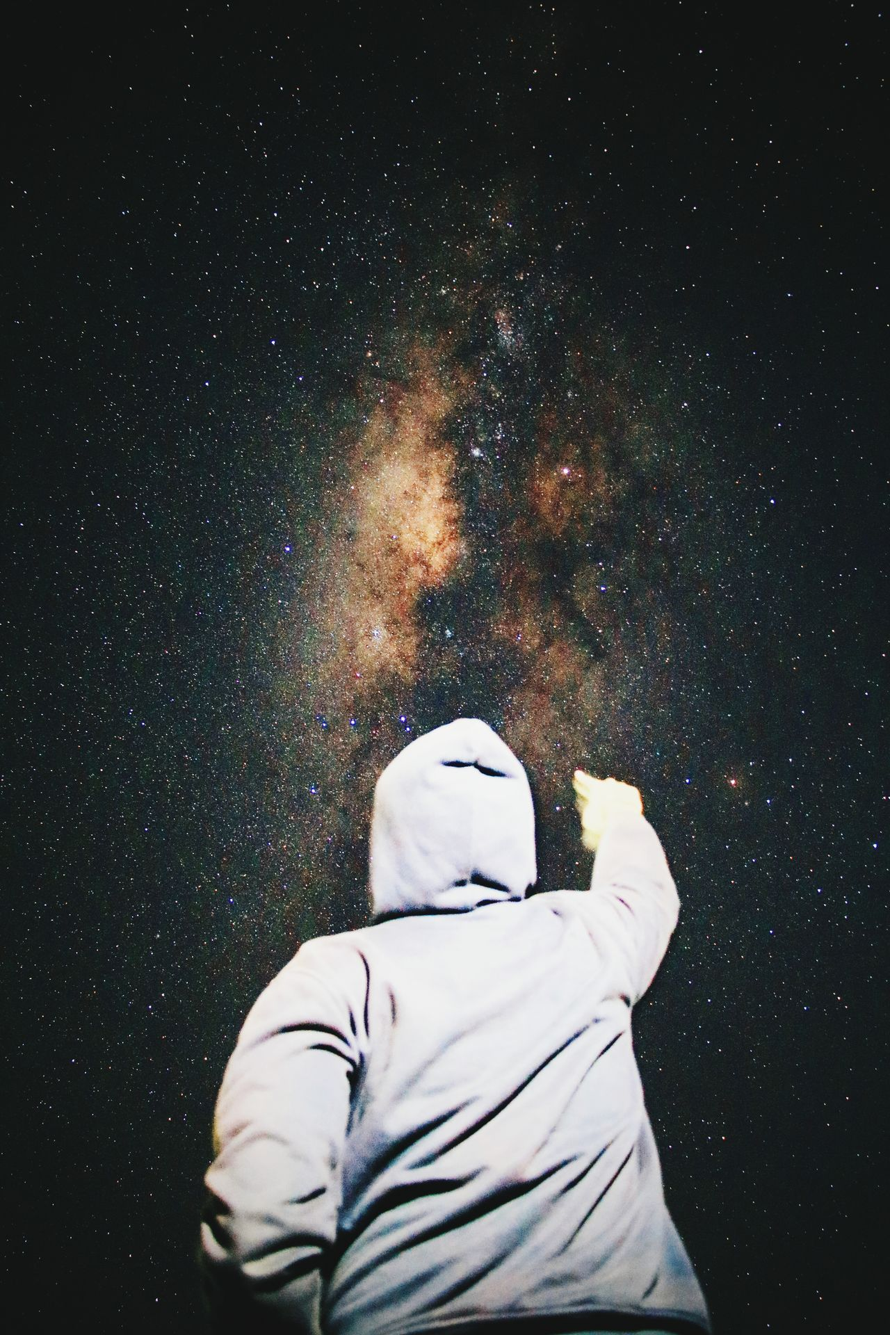 The milky way Space Star - Space Winter Rear View Snow Cold Temperature Astronomy One Person Night Snowing Wireless Technology Only Men Adults Only Photography Themes Communication One Man Only People Galaxy Adult Snowflake