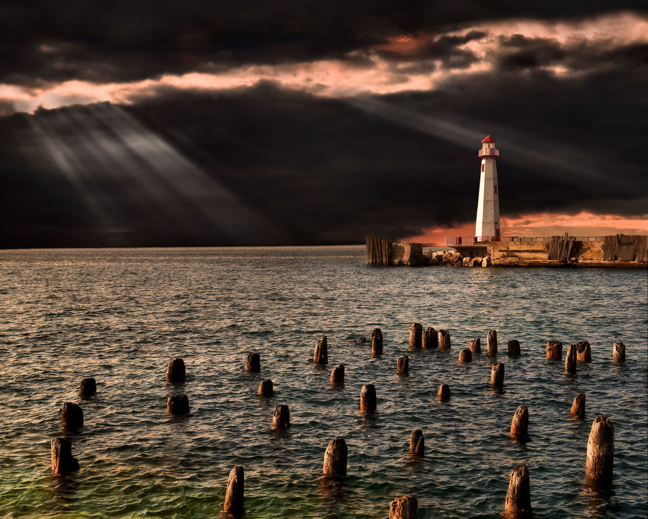 Architecture Beams, Beauty In Nature Cloud - Sky Day Light House Lighthouse Nature No People Outdoors Reflections Sea Sky Sunset Tranquility Water