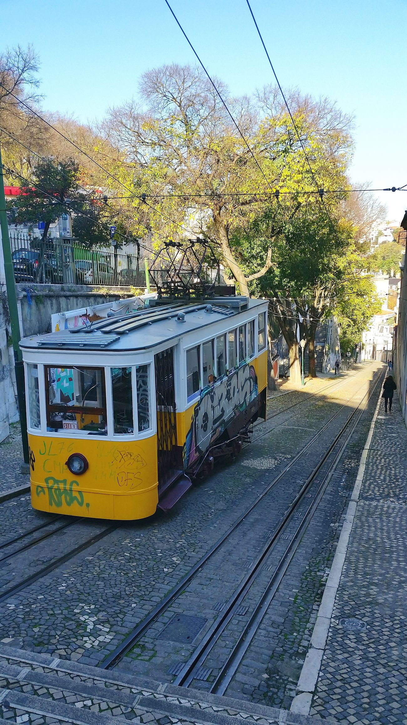 Transportation Public Transportation Rail Transportation Railroad Track Mode Of Transport Cable Car Yellow Train - Vehicle City Outdoors Sky Tree Tram No People Day Carris