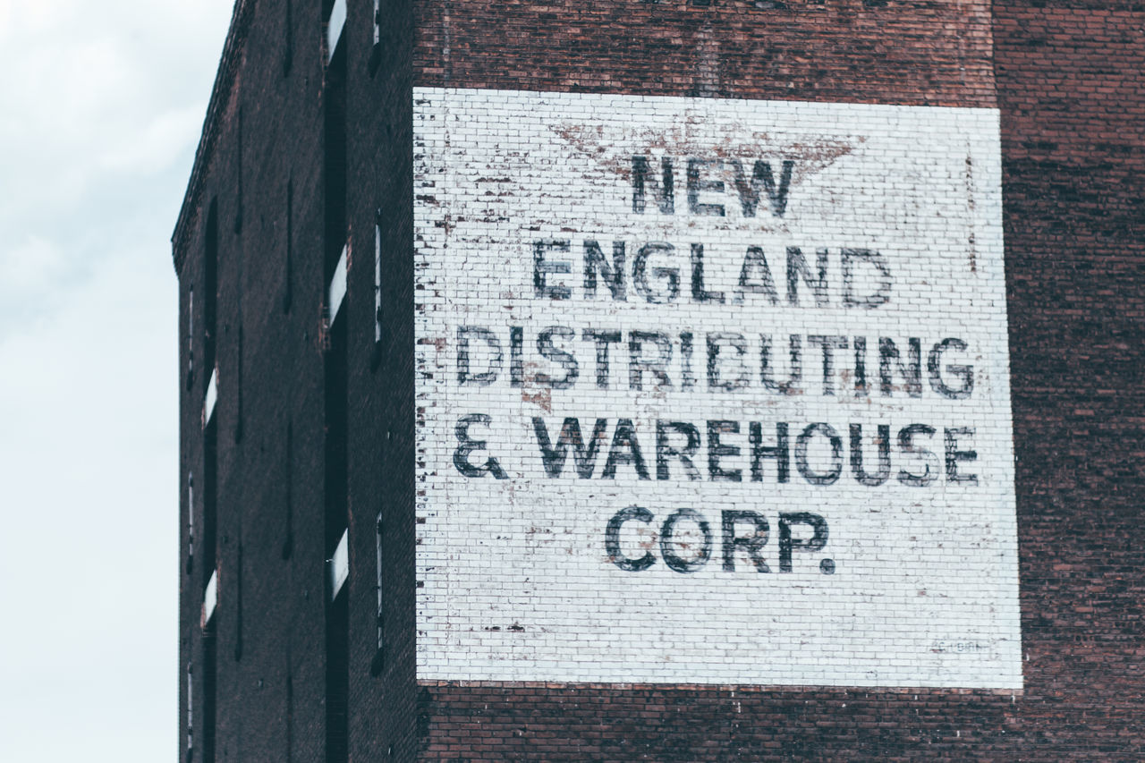 Architecture Communication Day No People Outdoors Sign Signboard Text New England  New England Distributing Warehouse District Warehouse Warehouse Corp.
