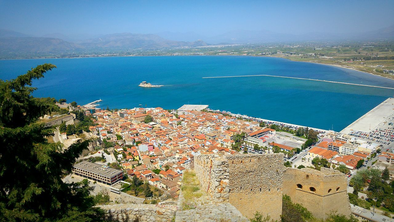City Urban Landscape Seaside City Sea Seascape Houses Historic City Nafplio Peloponese Greece Shades Of Blue Blue Wave Blue Sea Viewpoint View From The Top Castle Medieval Castle View From Castle Landscape Landscapes Cityscapes Cityscape Amazing View Breakwater Harbour