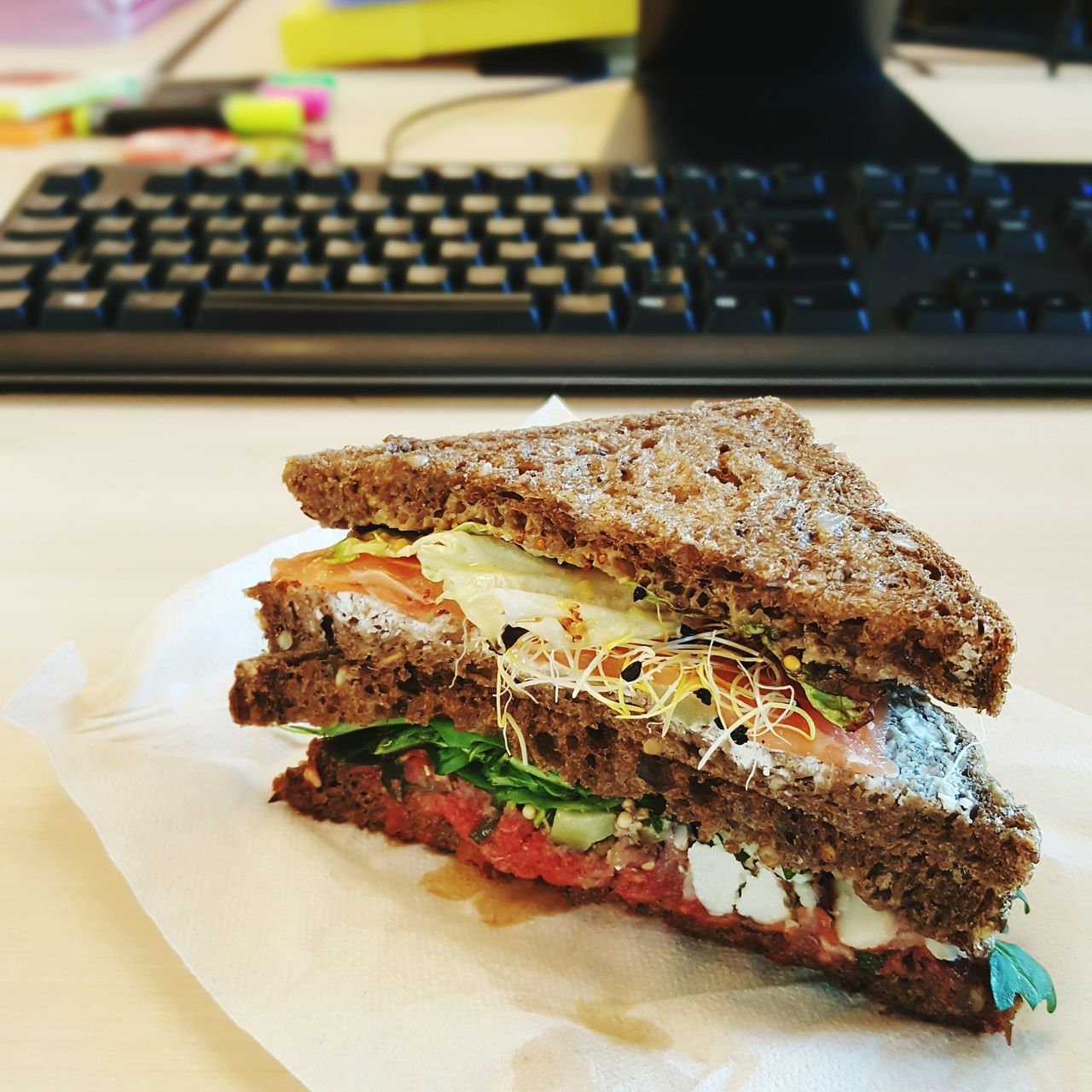 Food Indoors  Desk Work Sandwiches Bread Keyboard Lunch Messy Desk Lunchtime! Yummy Food And Drink Office Food At Work Mmmmm