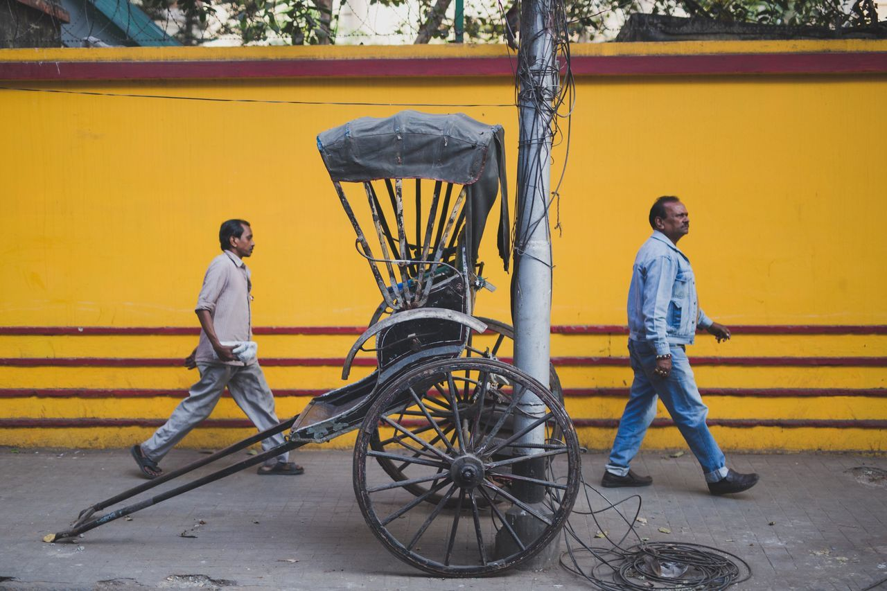 Day Handheld Handpulli Kolkatadiaries Land Vehicle Lifestyles Mode Of Transport Outdoors Rickshaw Yellow