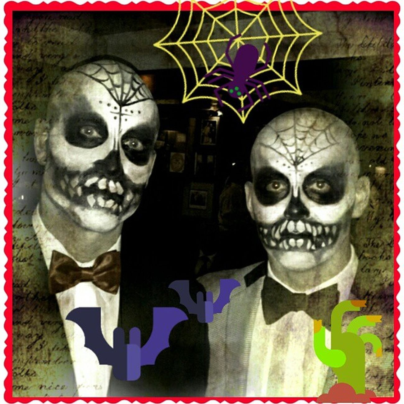 Just some guys on Dia de los Muertos I did at the shop.Mainstreethaircompany make-up Beautybytammy Halloween scoonerorlater diadelosmuertos
