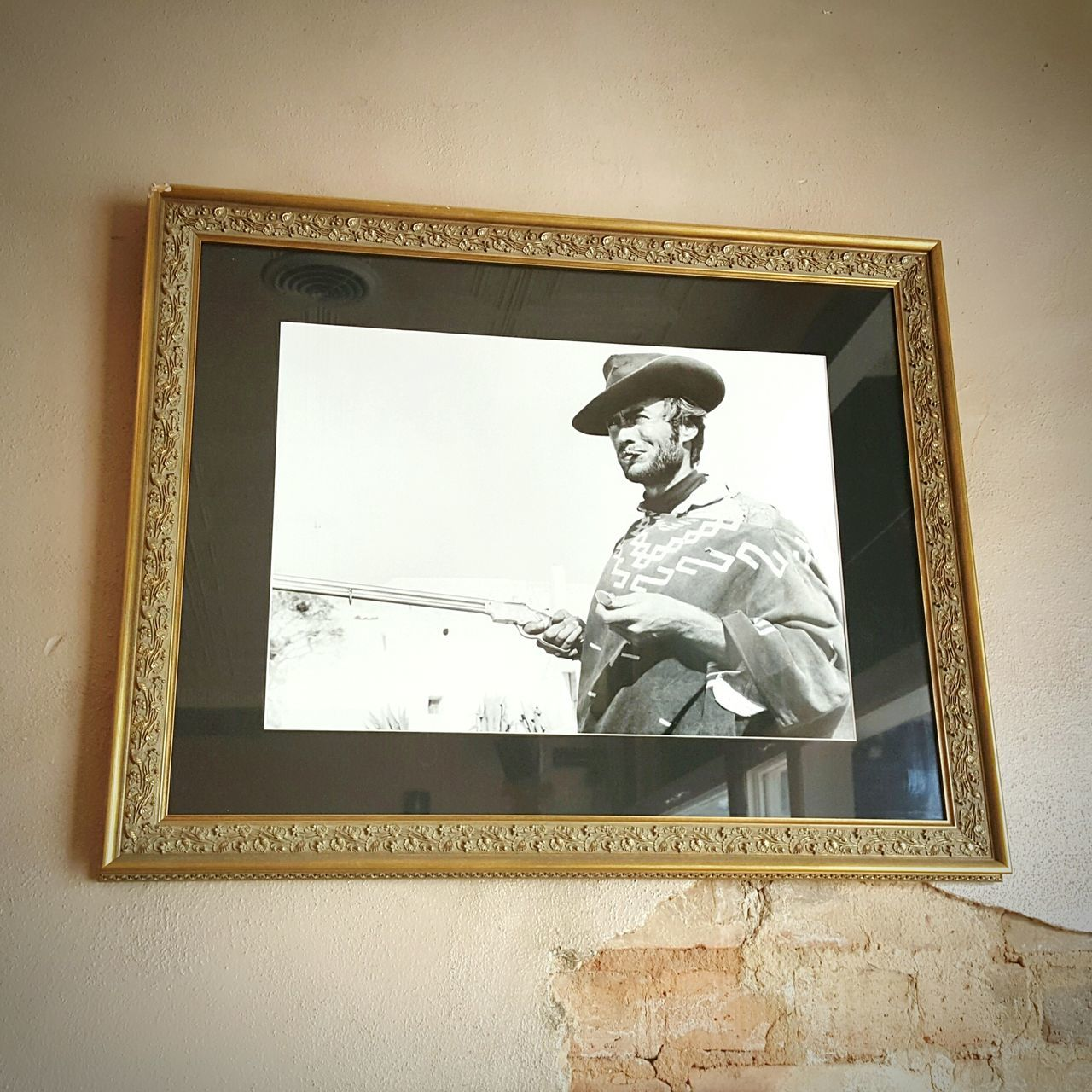 43 Golden Moments Clint Eastwood Portrait in a Golden Frame Hung On Wall Random Pic Leone's Spagetti Western A Fistful Of Dollars Senoia, Ga S6