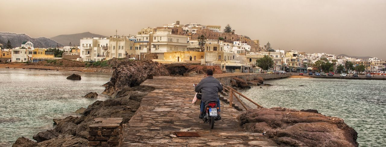 On the way by to Moped to Naxos Town Greece