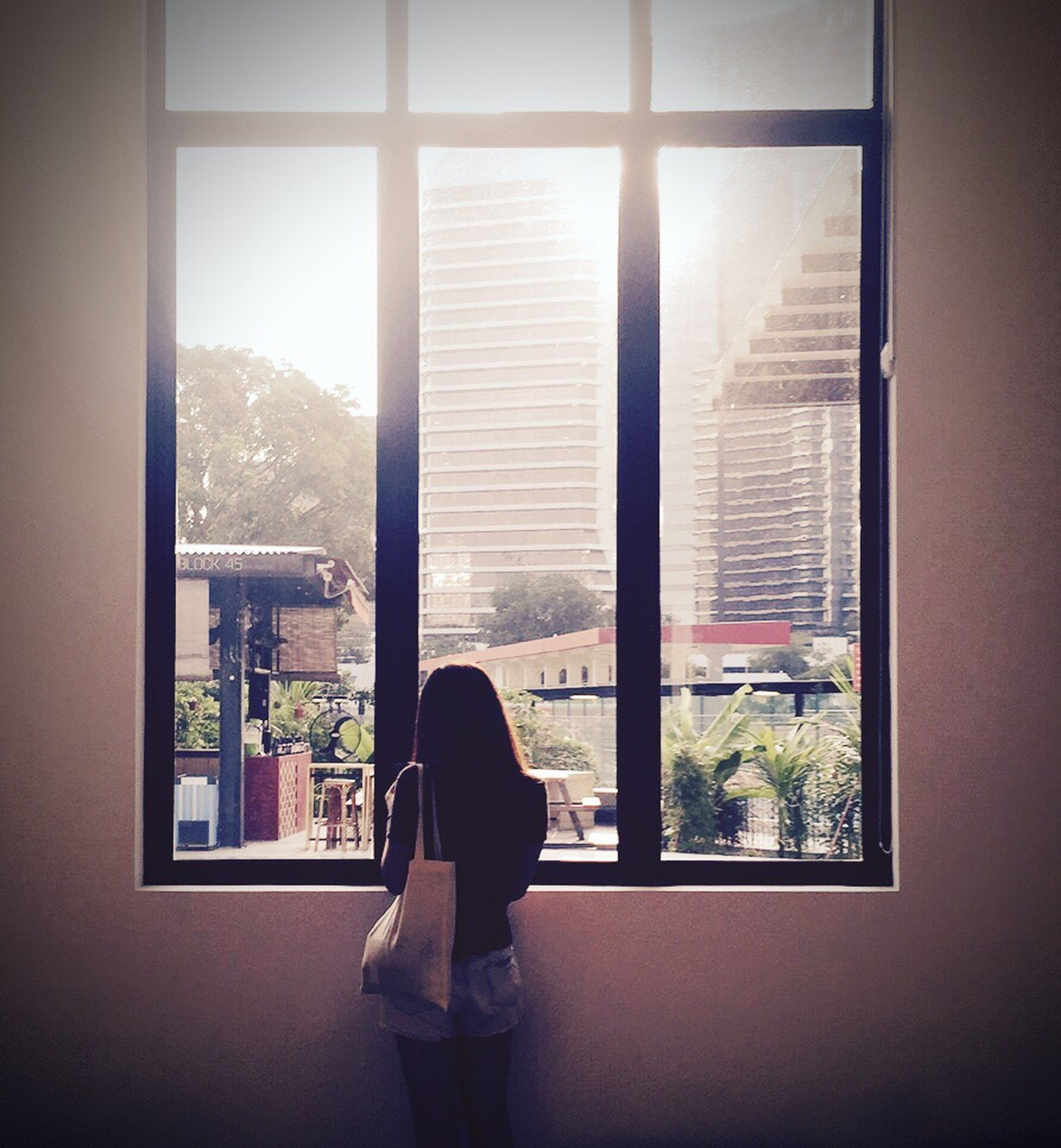 window, indoors, glass - material, rear view, transparent, lifestyles, standing, looking through window, full length, person, men, curtain, built structure, leisure activity, home interior, architecture, silhouette, window sill