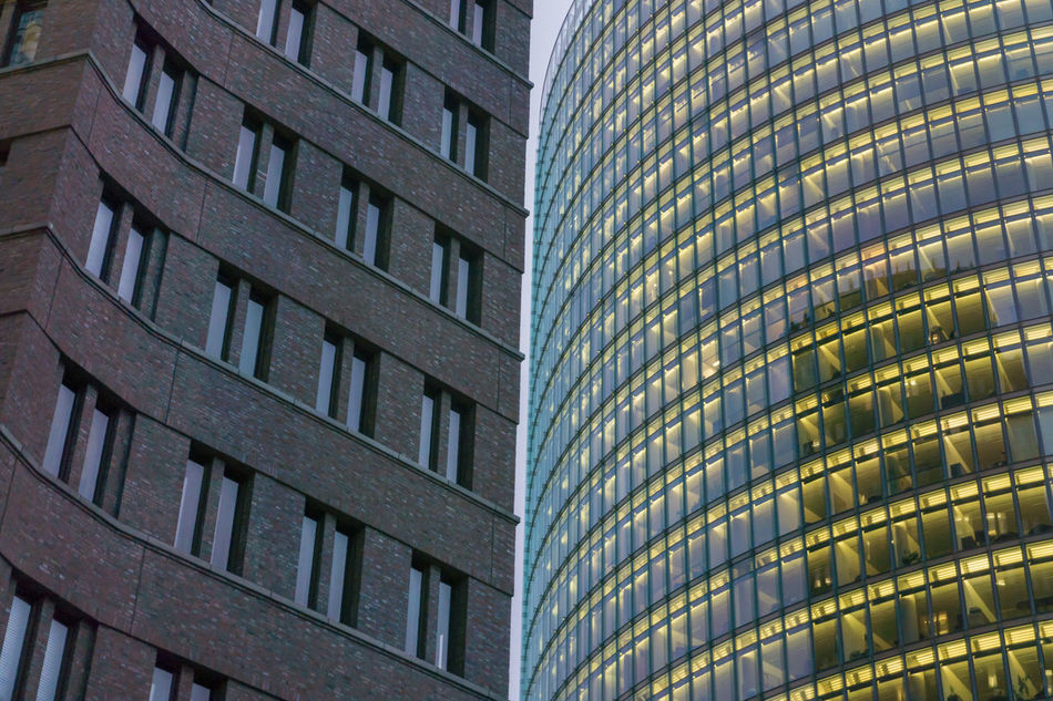 Office buildings at Potsdamer Platz in Berlin, Germany Architecture Bahn Tower Berlin Building Exterior Built Structure City City Life Color Image Day Façade Germany🇩🇪 Horizontal Illuminated Kollhoff Tower No People Outdoors Potsdamer Platz Skyscraper Window