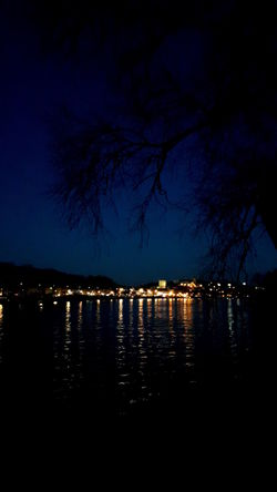 River River At Night Water Water Reflections City Lights My Town Light And Shadow Tree Branches Branches And Sky Silhouette Beauty In Nature EyeEm Gallery Eye4photography  The Week On EyeEm Conflans-Sainte-Honorine Yvelines France