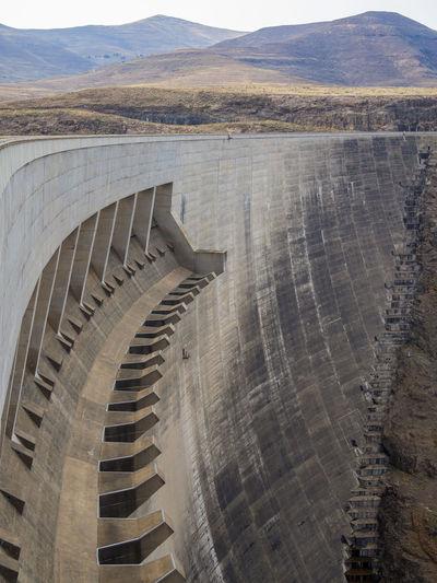 Hydroelectric Power Hydro Power Dam Hydro Power Plant Lesotho Katsedam Katse Dam African Africa Mountains Concrete