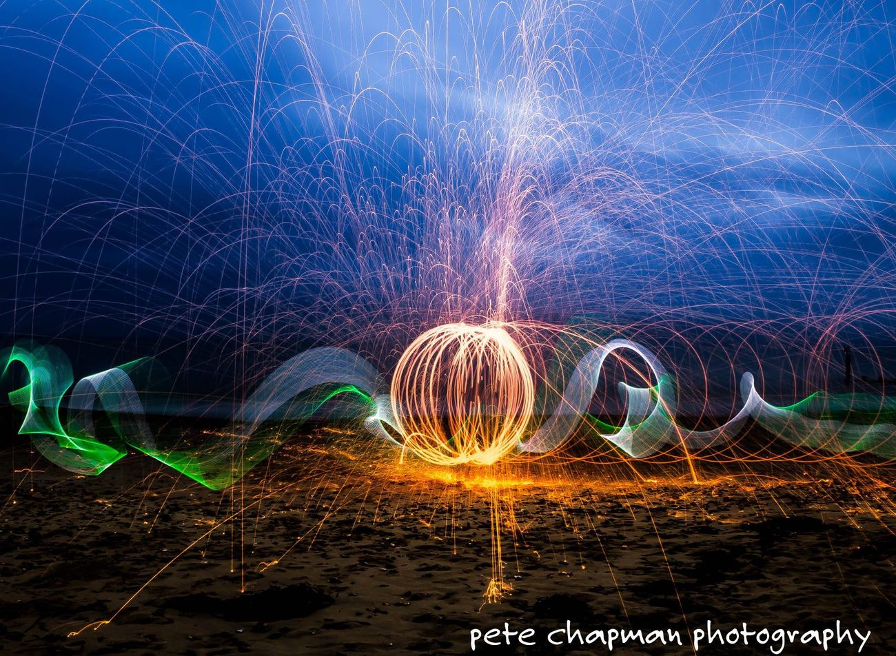 Light Painting Long Exposure Light Trails Light Stick Spinning Steel Wool Fire Light Orb