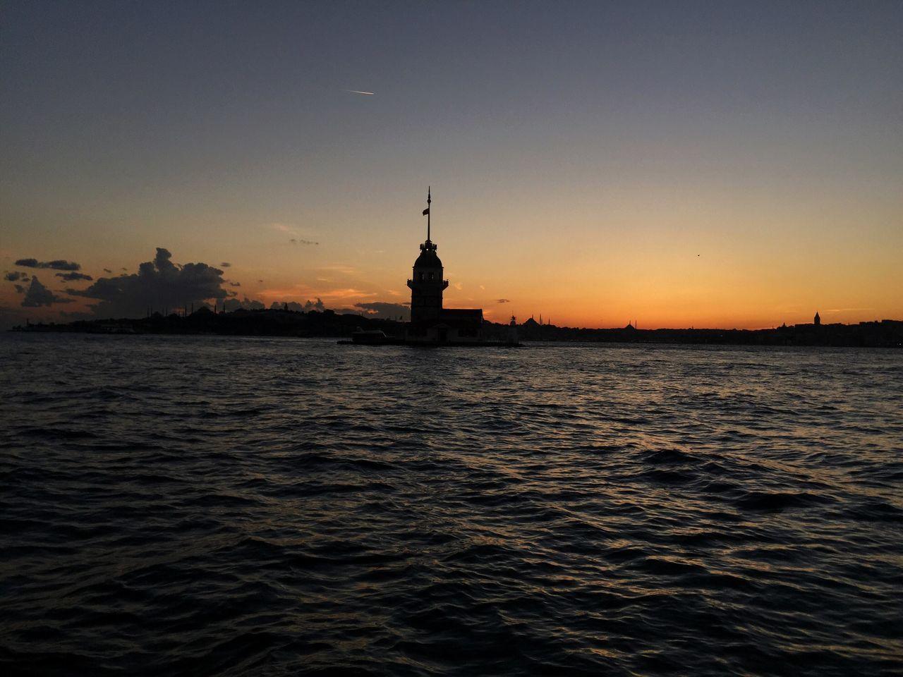 Building Exterior Sunset Tranquility No People Nature Sea Bosphorus Sundown Dawn Sky Silhouette Sun Tower Maiden Tower Maidenstower Maidentower Landmark Turkey Istanbul
