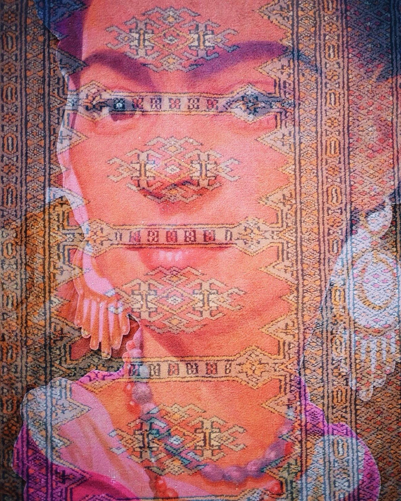 Frida & her third eye. I created this with my cameras multiple exposure feature. It's a large cut out of her & an antique carpet from a gallery in San Miguel. I love how much she is honored in Mexico. Currently en route to Mexico City. We're staying just down the street from Frida & Diego's old home in Coyoacán & feeling ready to explore the city!!! Travel Culture Check This Out Textures And Surfaces Art Portrait Double Exposure EyeEm Gallery Traveling Street Photography Eye4photography  Eyem Best Edits