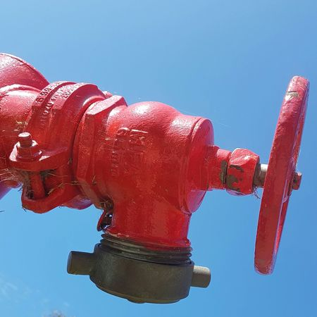 Streets Of Sydney Sydney, Australia Fire Hydrant Red Colored Background Blue Background Sky Outdoors