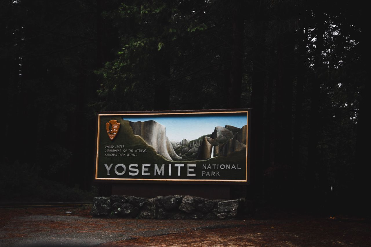 Yosemite National Park entrance sign. I was so happy when we finally reached the park. Yosemite National Park Yosemite Sign Forest Iconic Faded Lowlight National Park California Wilderness Moody Pine Tree Pine Woodland
