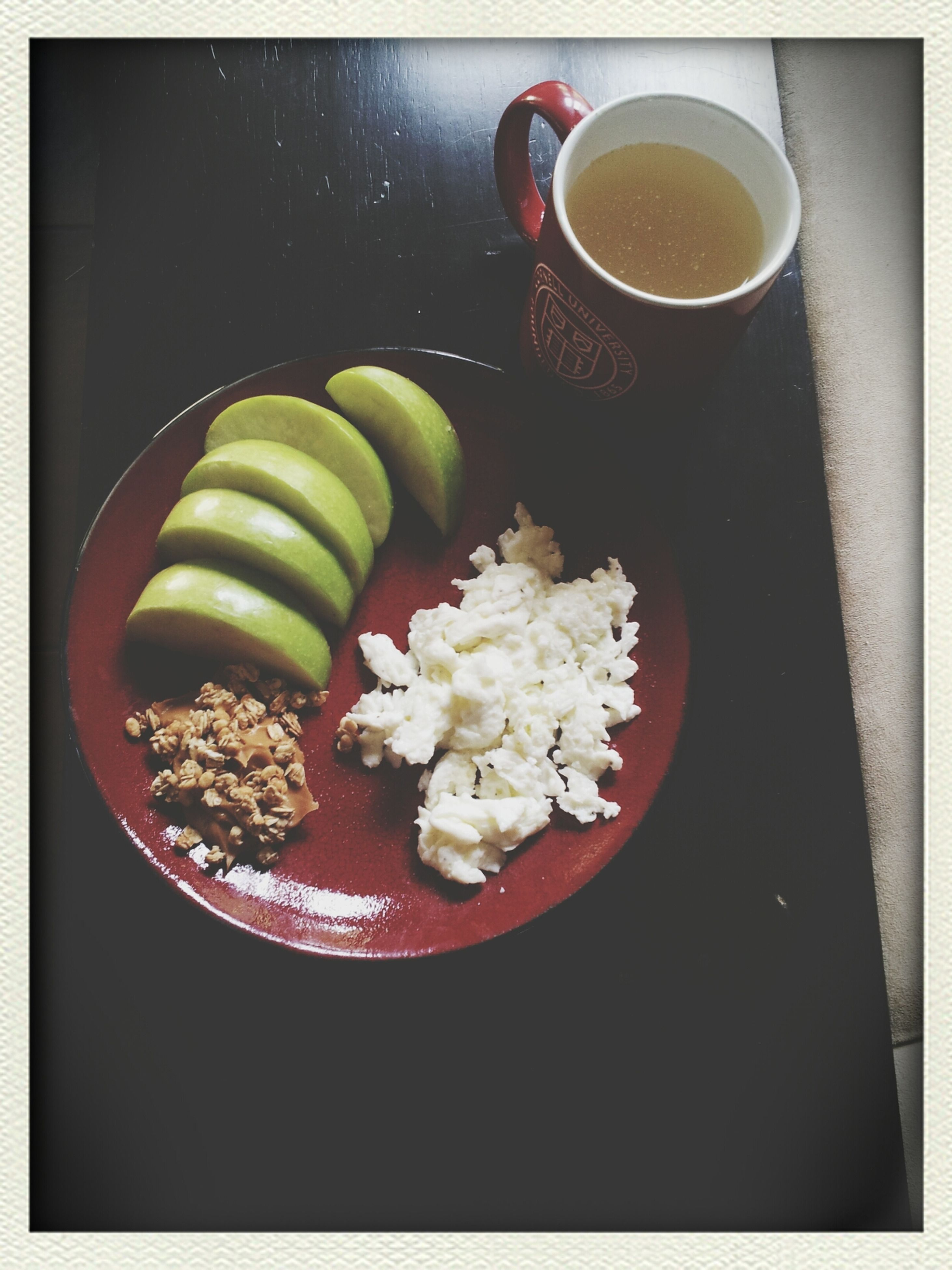 food and drink, freshness, food, indoors, table, still life, healthy eating, transfer print, plate, ready-to-eat, high angle view, drink, bowl, refreshment, auto post production filter, close-up, serving size, breakfast, meal, spoon