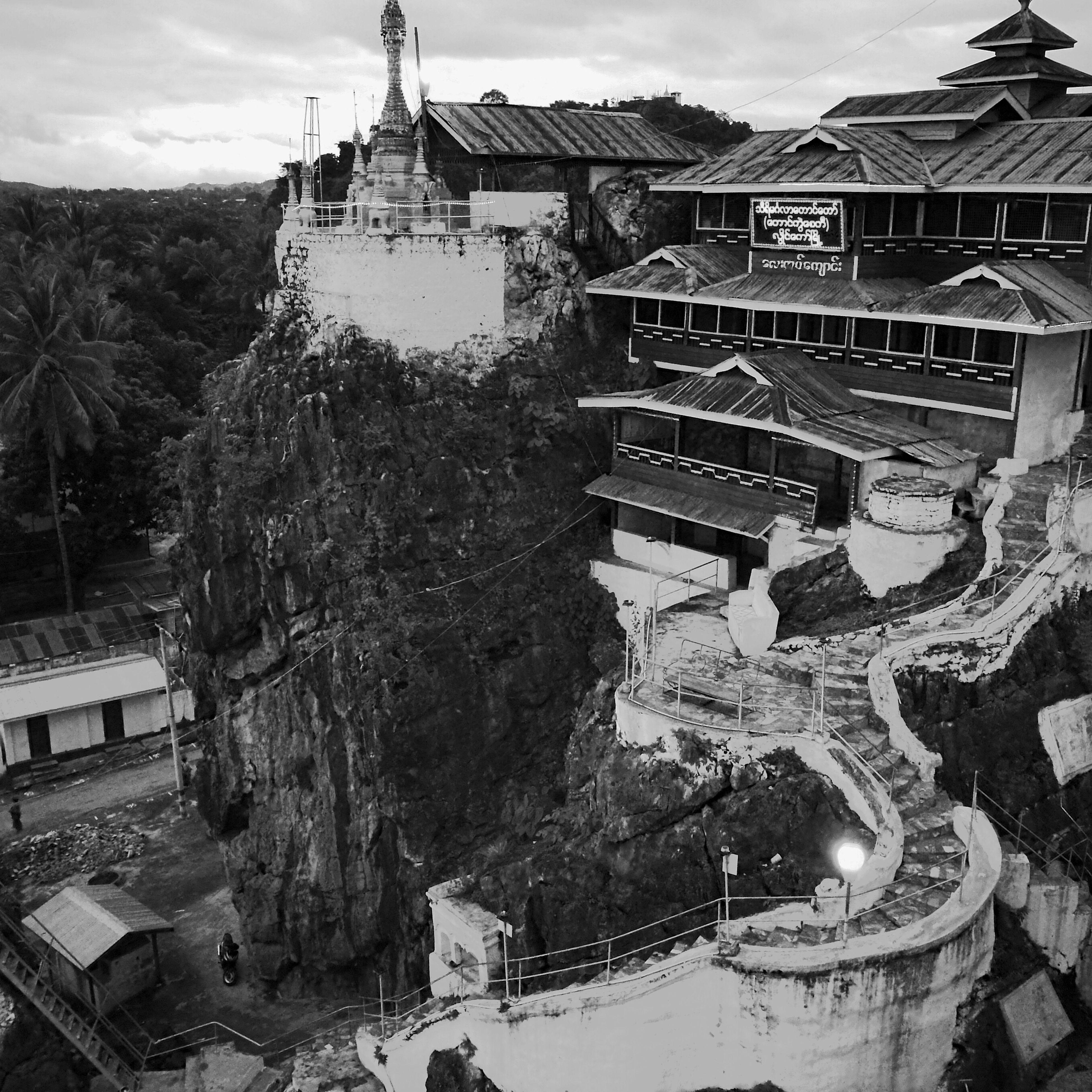 Loikaw Taungkwe Pagoda Pagoda Temple Pagoda On Moutain Pagoda In Myanmar Black & White P9 Huawei Pro Mode
