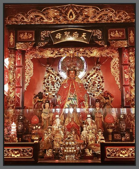 Peace Love Health Prosperity Lady Of The Ocean Chinese New Year 2017 Buddhist Temple Alter Full Frame No People Gold Colored Illuminated Indoors  Close-up Day Worship Faith