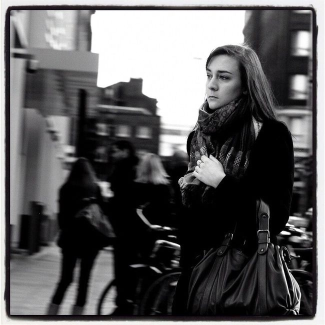 Lost Amngst The Lost Young Women Selective Focus City Life Capture The Moment Up Close Street Photography Portrait Of A Woman Film Noir London Black & White Street