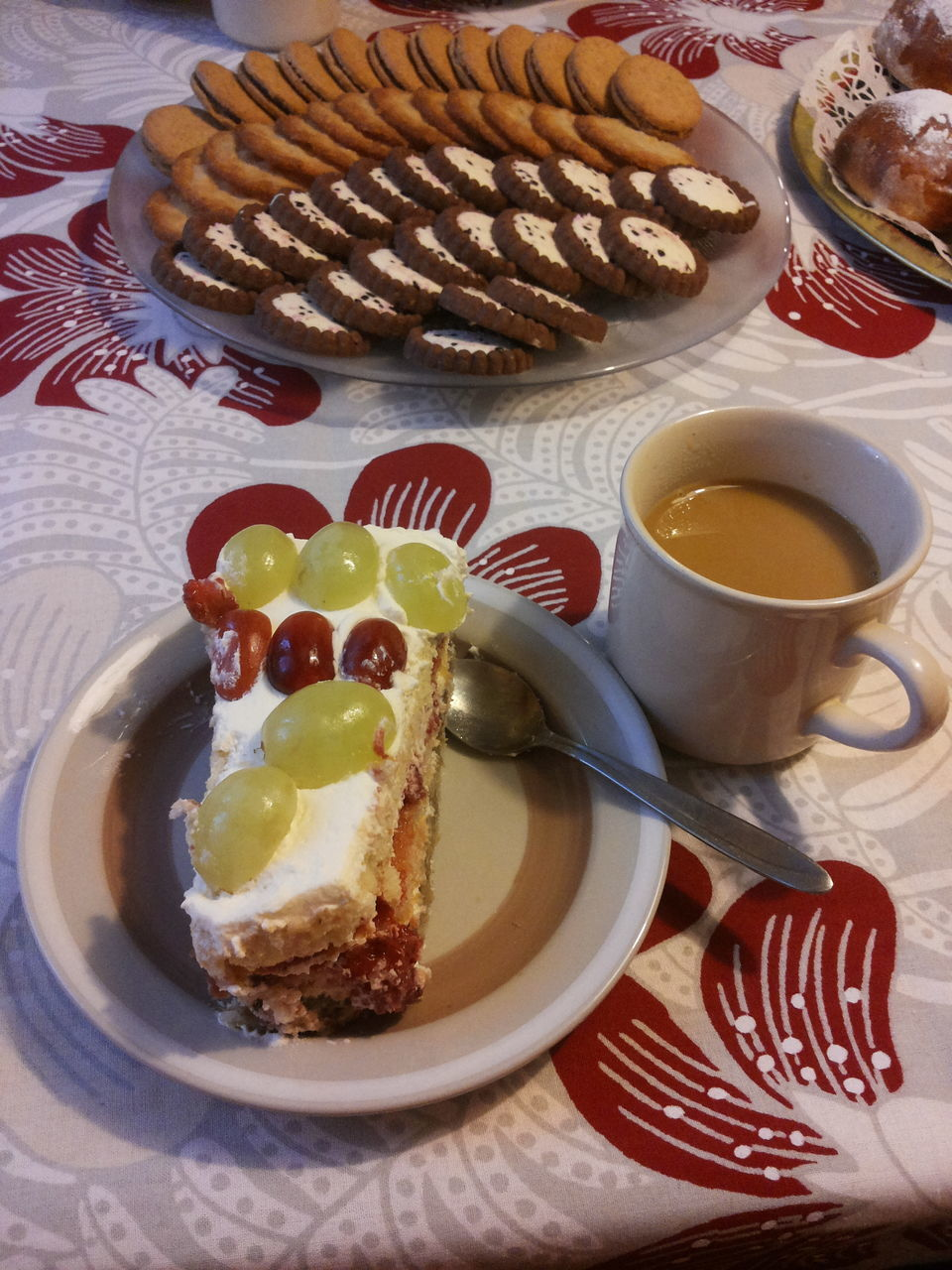 Pastry And Cookies With Tea On Table At Home