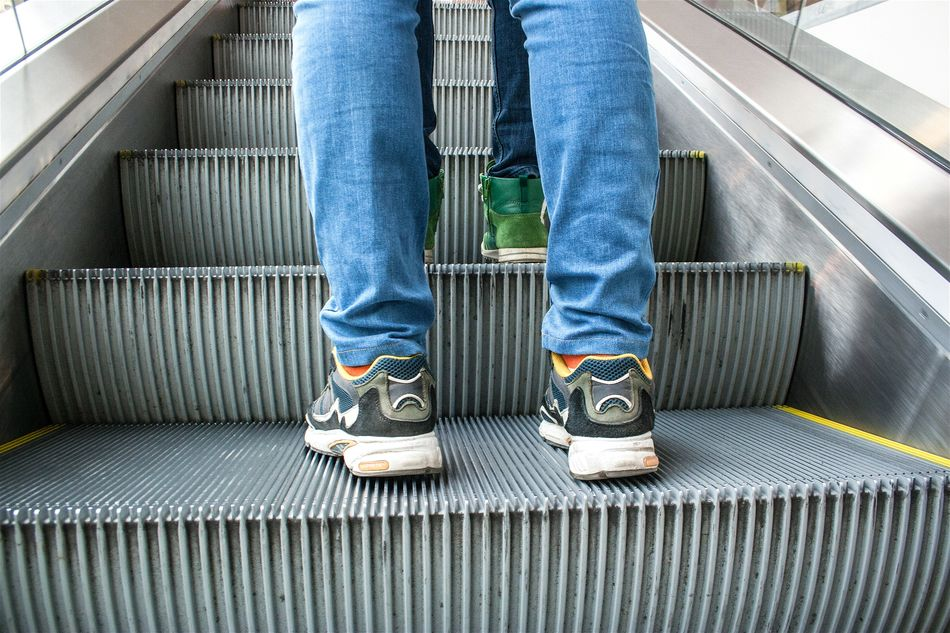 Beautiful stock photos of couples, , Convenience, Escalator, Human Body Part