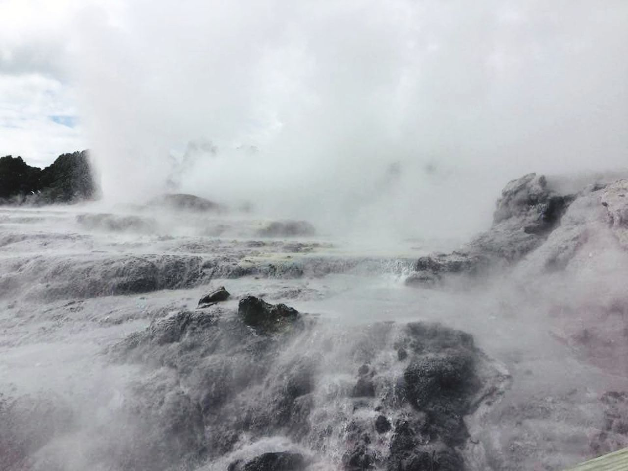 nature, beauty in nature, power in nature, no people, water, steam, outdoors, scenics, day, landscape, physical geography, motion, geyser, hot spring, sky, fog