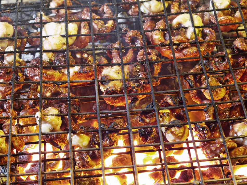 Beautiful stock photos of octopus, Backgrounds, Barbecue Grill, Burning, Char-Grilled