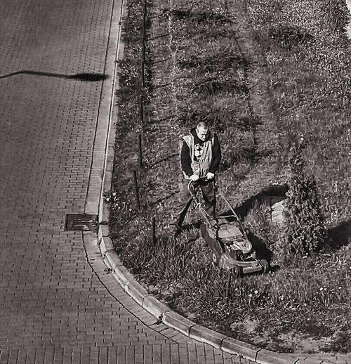 Lawnmower Lawn Mowing Lawnmowerman Blackandwhite Photography Blackandwhite People_bw