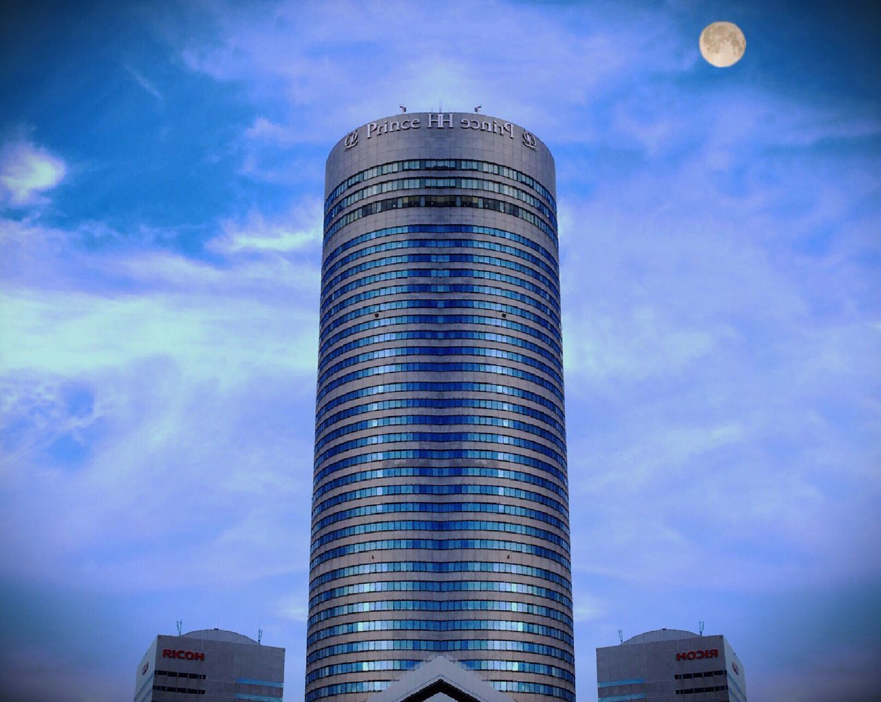 Moon Sky Architecture Cloud - Sky Low Angle View Building Exterior Built Structure Skyscraper Day No People Modern Outdoors City