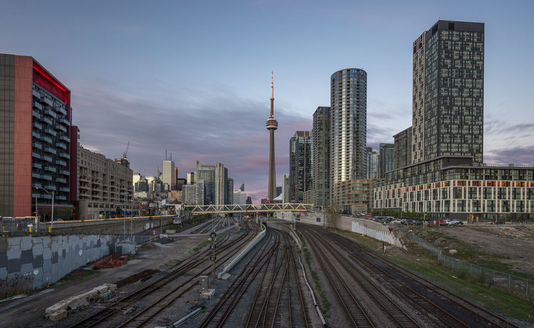 Skyline Toronto Built Structure City CN Tower - Toronto No People Outdoors Railroad Track Toronto Urban