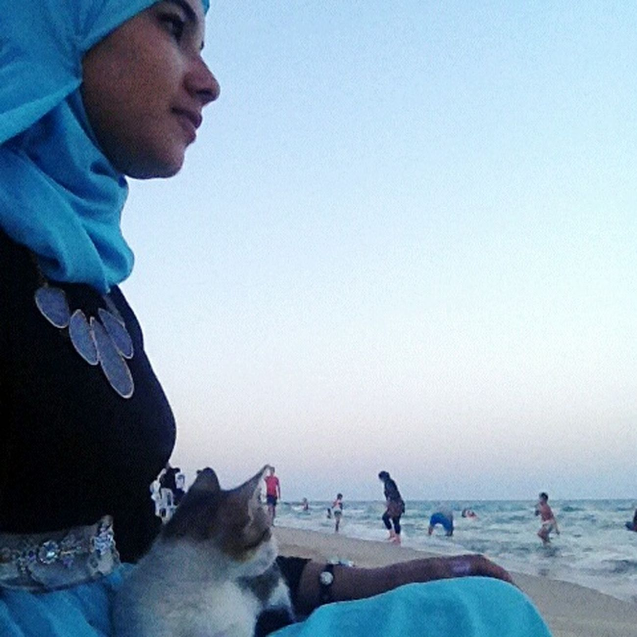 Relaxing with my Cat Blanca.. Sun Plage Sea Memories Summertime