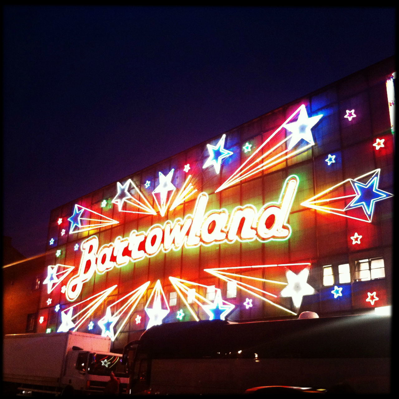 Best venue in glasgow - sprung dancefloor, starry ceiling and snakebite make for a damn good gig. Barras City City City Life Gig Glasgow  Hipstamatic Illuminated Low Angle View Multi Colored Music Neon Night Nightlife No People Outdoors Retro Scotland Square Stars Text The Barrowlands