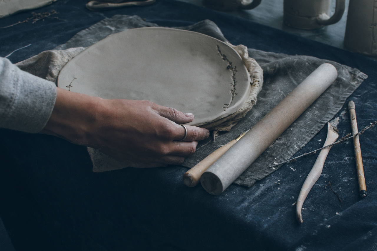 Art And Craft Ceramic Clay Close-up Craftsperson Hands At Work Holding Human Hand Indoors  One Person People Real People Showroom Skill  Table Work Tool Working Workshop Fresh On Market 2016